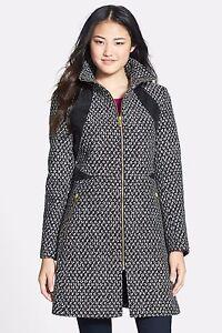 Women's 14 Via Spiga Faux Leather Trim Front Zip Coat 48633R Black