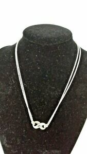 """TIFFANY & CO 925 Sterling Silver Infinity Pendant Double Chain Necklace 16"""""""