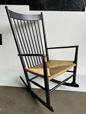 Black Danish Woven Hans Wegner Rocking Chair