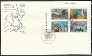 "Canada FDC Scott #1104-1107 PLATE BLOCK Aug 29, 1986 ""Exploration of Canada""  *"