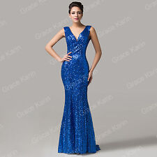 Pailletten Lang Abendkleid Brautjungfernkleid Ballkleid Hochzeitskleid Gr:32-46