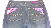 Enyce Jeans Womens 27 Boot Cut Pink Dark Wash 32 x 32 Actual Denim Pants Ladies