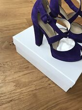 Karen Millen Purple Suede Platform Sandals Size 5 (38) Wedding Cruise Party