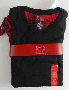 Men Pajama Set XL Flannel Lounge Pants Long sleeves Tee Shirt Black/Red
