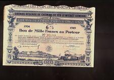 FRANCE FRENCH RAILROAD  CdF Chemin de Fer de Paris a Orleans 1934 1,000 Francs