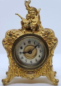 Antique 19th C. Jennings Bros Figural Cherubs Victorian Art Nouveau Mantel Clock