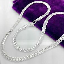 Men Women stainless steel Silver 5MM Box Necklace Chain link