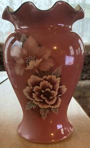 Beautiful Vintage Denby Pink Damask Frilled Top Vase Mint