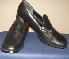 Worthington Black Leather Block Heel Women Shoe7M Nice!