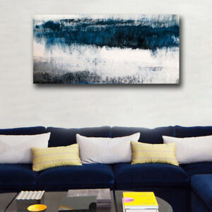 Blue and gray Abstract canvas printing living room decoration wall art picture