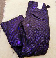 RIDE Womens Ski Snowboard Pants Waterproof Trousers Size S Black & Purple Print