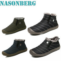 Men's Winter Waterproof Warm Snow Boots Fur Lined Ankle Boot Shoes  Outdoor New