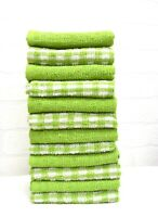 12X Green Tea Towel Pack 100% Cotton Terry Mono Check Kitchen Dishcloth Cleaning