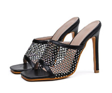 Ladies High Heels Slippers Open Square Toes Mesh Rhinestone Hollow Slim Sandals