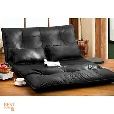 Home Theater Seats Loveseat Sofa Seating Black Foldable PU Leather Gaming Couch