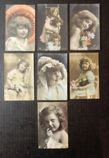 7-Edwardian Children-Tinted Photo-Victorian-Antique Postcard Lot