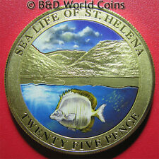 SAINT HELENA 2013 25 PENCE COLORED FLOUNDER FISH SEA LIFE MOUNTAIN PRF-LIKE 38mm