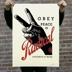 ✌️OBEY Radical Peace CREAM Signed & Numbered Screen Print