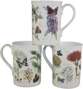 Set of 3 FINE Bone China Summer Woodland Butterfly Mugs Cups Gift Set
