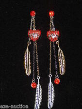 """Valentine Day Gift Crystal Red Love Heart Of The Swan 5"""" Long Earrings"""