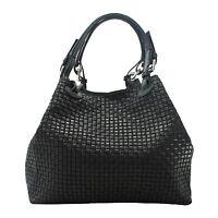 borsa bag grande a mano a tracolla da donna pelle made in italy nero nera  80047 55c7a740e07
