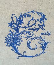 PERSONALISED EMBROIDERY LINEN CUSHION GIFT PRESENT WEDDING  MONOGRAM FRENCH NEW