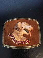 English Setter Belt Buckle Doggie Suede Background Raintree 1979 Detailed