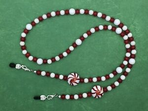 Candy Cane Reading Glasses Chain, Eyeglasses Necklace, Mask Holder, Peppermints