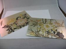 2 Two GORGEOUS Asian Chinese Multi Color Etched Metal Flower Bird Art Tiles