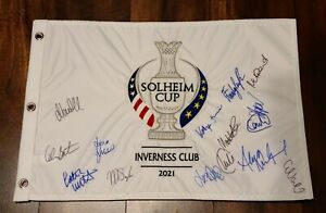 2021 Solheim Cup Team Europe Autographed Signed Golf Pin Flag Inverness Club