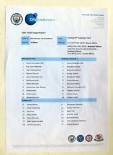 Manchester City - Shaktar Donetsk, UEFA Youth League teamsheet 26/09/17