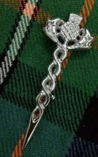 "Scottish Thistle Kilt Pin Chrome Finish 3.5"" Celtic Knot Pins & Brooch Gift Box"