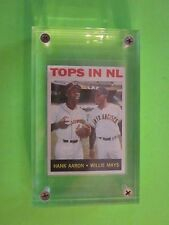 "1964 TOPPS HANK AARON & WILLIE MAYS  BASEBALL CARD # 423 in 1"" lucite holder"