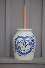Classic Pottery Work Stoneware Butter Churn Cobalt Blue Heart Marshall TX Signed