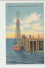Vintage Postcard Fishermen Cape Porpoise Maine sailing boat Tichnor b1