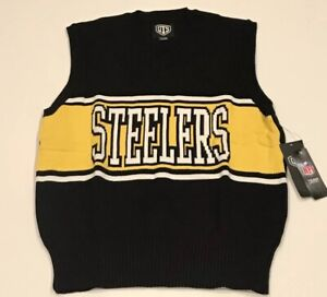 OTS NFL Brand Pittsburgh Steelers Mens Sweater Vest XL Knit Ribbed Retro Design
