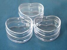 50Pcs Empty Cosmetic Lip Balm Cream Pot Jar Container Heart Shape 0.17oz/5g