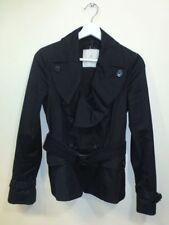 MONCLER Black Ruffle Collar Belted Jacket Coat Size 0