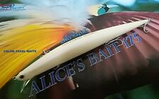 "NEW LONG JERK ""ALICE'S BAIT"" MINNOW 175 SLIM FLOATING - COLOR: PEARL WHITE"