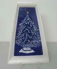 Joan Pompa Blue Christmas Tree Plaque or Centerpiece Plate Hand Painted Signed