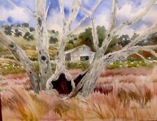 Original Watercolor HOLLOW TREE Sycamore Grove Livermore CA Pamela Wilhelm