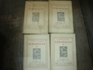 André SUARES: Remarques. 4 volumes 1917