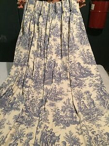 Toile blue and white curtains