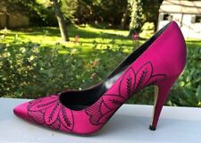 TIBI SHOES High Heels 7 1/2 B Pointed Fuscia Black embroidered  Vero Cuoio Italy