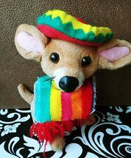 """GOFFA Chihuahua Sitting 7"""" Plush Dog with Colorful Sombrero and Poncho Scarf #M"""