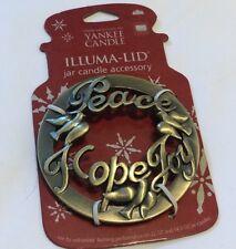 Yankee Candle Gold Christmas Peace Hope Joy Illuma Lid Topper New on Card