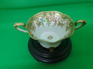 STUNNING HAND PAINTED AND GILDED NORITAKE TWIN HANDLED CUP EARLY MARK.