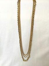 J CREW Jewelry Triple Strand Long Gold TREASURE Necklace $130 NEW