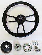 "Nova Impala Chevelle Monte Carlo Steering Wheel Black on Black 14"" SS Center Cap"