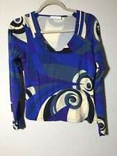 emilio pucci Womens Patterned Blouse Top Size S Long Sleeve Viscose Blend